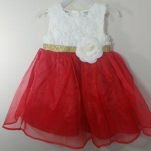 24 mos Blueberi Boulevard cream & red dress